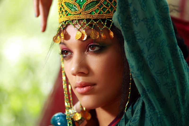 beautiful african woman as boho eastern princess