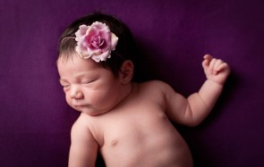Color image of a precious, newborn baby girl, wearing a flowered headband, with purple background.
