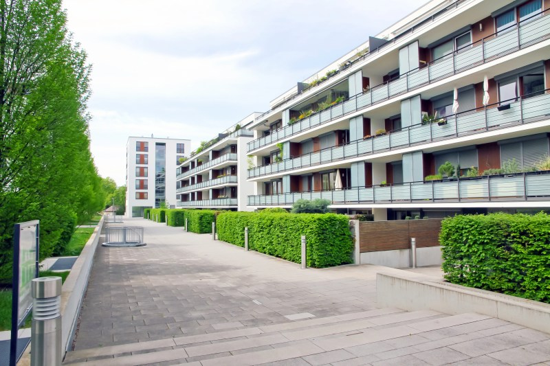 Modern aparment building with green plants in Baden Wuerttemberg, Germany