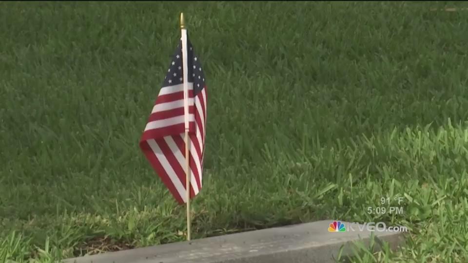 Brownsville Veterans Place Flags Grave Sites