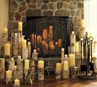Indoor Decor Christmas Candle Decor Stone Fireplace ...