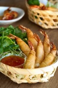 Rollitos-de-langostinos, rollitos de camarones, rollitos de gambas, cocina tailandesa
