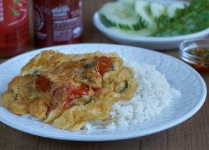 Tortilla estilo Thai, tortilla tailandesa, tortilla, huevo, cocina tailandesa, cocina asiática, huevo, recetas de huevo