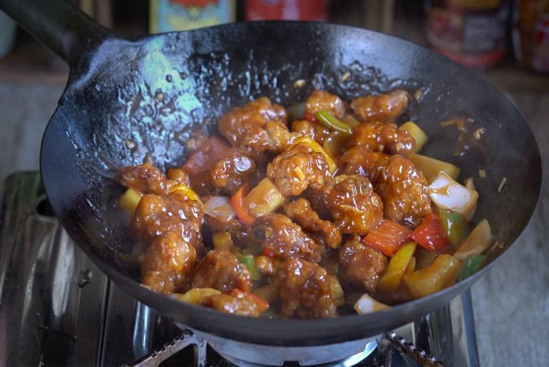costilla de cerdo agridulce, cerdo agridulce, cerdo agridulce rebozado, cerdo rebozado, cerdo frito, comida china