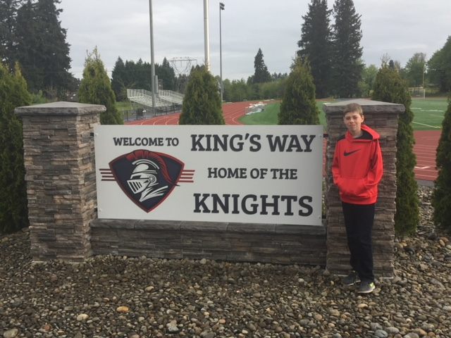 8th Grader Andrew Burgoyne gifts KW with a beautiful welcome sign!