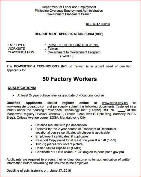 sample resume for factory worker in taiwan