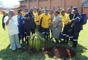 Tree planting day, Marakele National Park member with Cllr AR Ramogale after planting three trees at Regorogile Multipurpose sports complex.