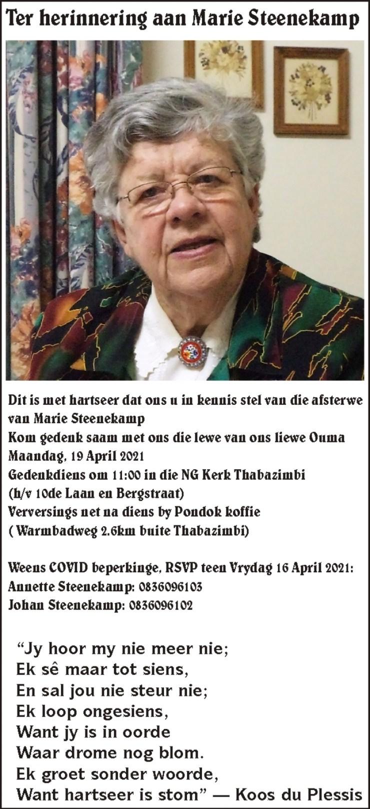 2021 April 15 Ter Herinnering aan Marie Steenekamp