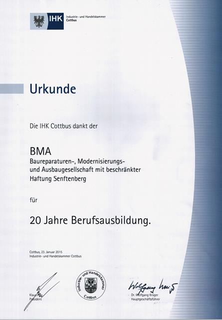 IHK Urkunde an BMA