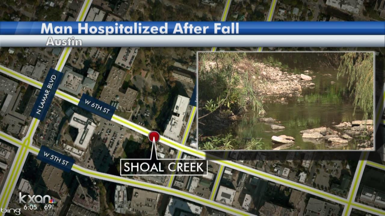 Man survives 12-foot fall near Shoal Creek