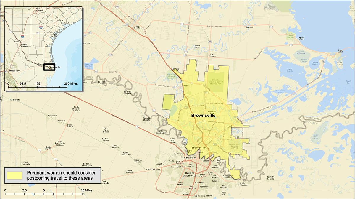 Brownsville - Zika - Yellow areas show where pregnant women should consider postponing travel_387621
