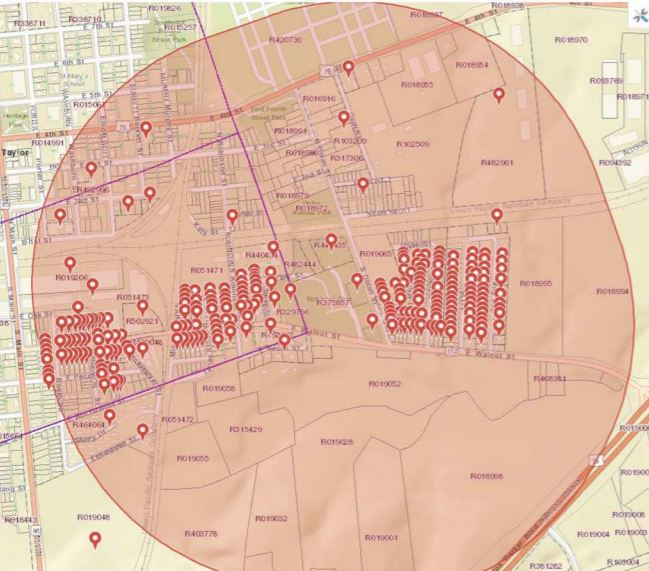 Planned mosquito spray area in Taylor, Texas_578598