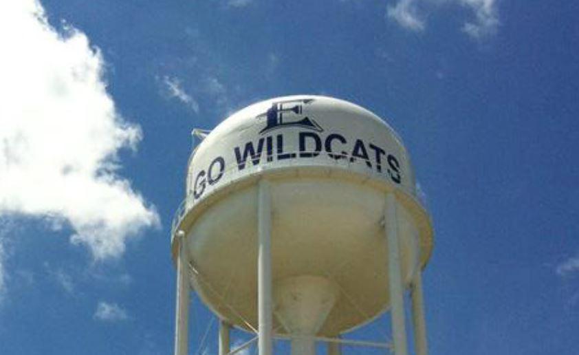 Elgin High School Go Wildcats on water tower