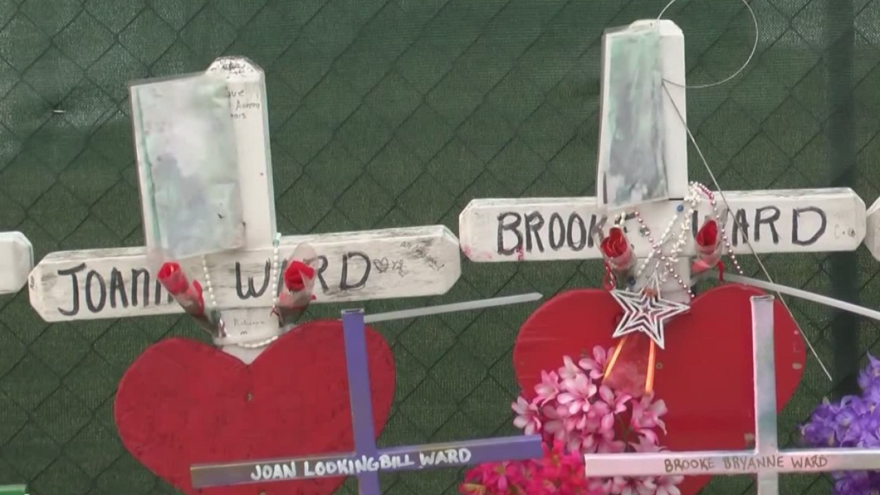 Crosses for shooting victims