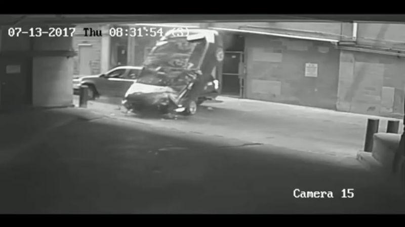 parking garage, BMW plunges from 7th floor of Littlefield Garage in downtown Austin on July 13, 2017_523654