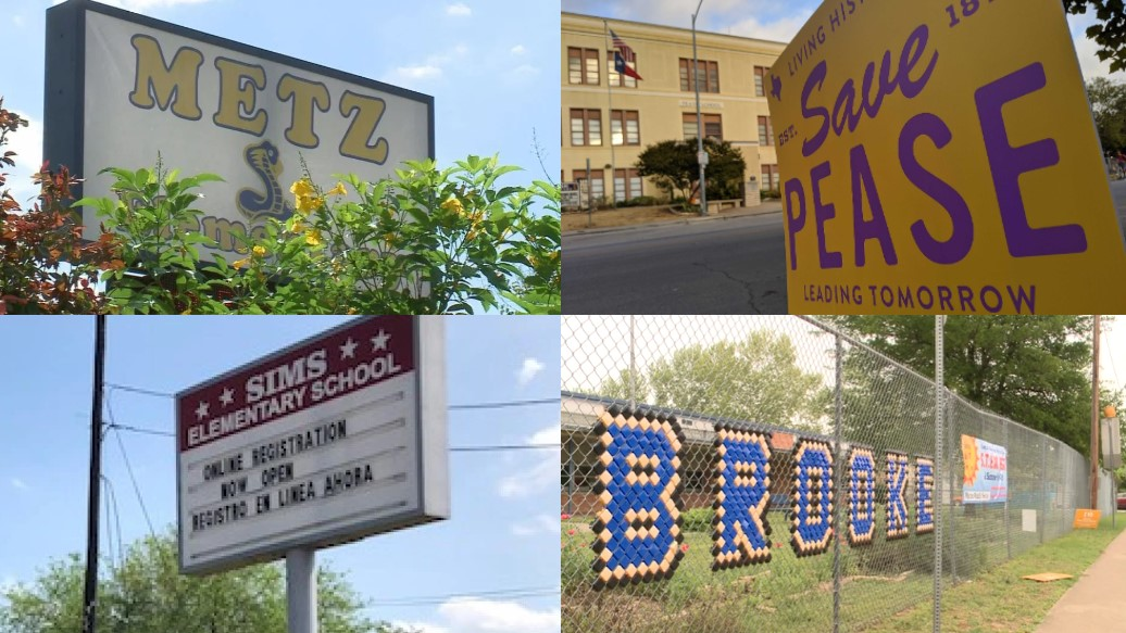 Split image showing Metz, Pease, Sims, and Brooke elementary schools