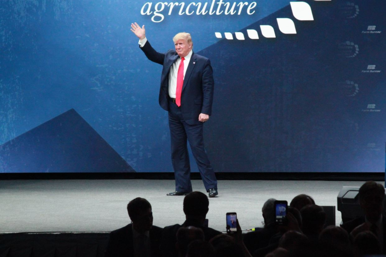 President Trump waves to crowd at AFBF convention