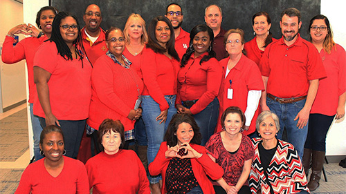 "Texas Mutual team members from the Houston Regional Office ""Go Red."" (Texas Mutual Photo)"