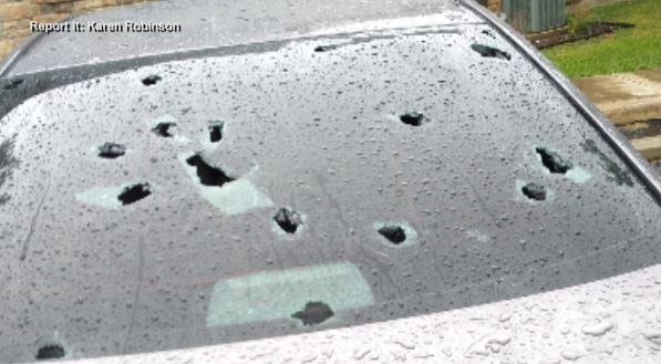 Car damage hail, April 15, 2021