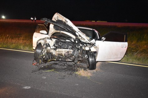 This crash scene photograph taken by a Texas DPS investigator and obtained by KXAN through an open records request shows the force of the crash was enough to rip the engine from the Hyundai Alan Dieguez was driving the night of this deadly crash on I-35 in Jarrell, Texas, on June 21, 2016. (Texas Department of Public Safety Photo)