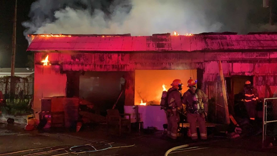State homeless camp catches fire early Friday where 100 people live