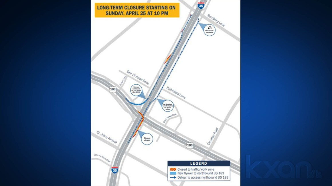 NB I-35 to NB U.S. 183 flyover to close for about 4 months for reconstruction