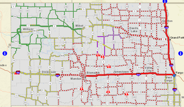 I-94 from Bismarck to Fargo closed; I-29 north from Fargo closed Interstate Map on interstate 16 logo, interstate 16 macon st, 16 ga map, national highway system map,