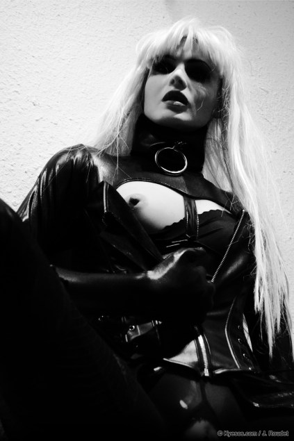 Barbarella 2012 is a beautiful blonde lady in fetish catsuit and corset teasing by Kyesos