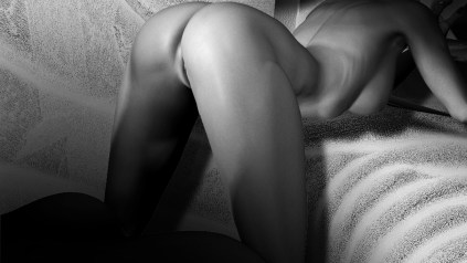 Very sexy image of a lady's body in black and white on stones by Kyesos