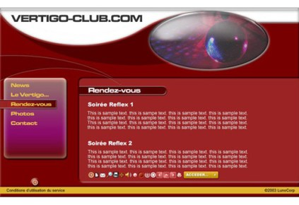 Original modern interface design for Vertigo Club website by Kyesos