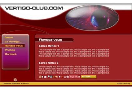 Original modern interface design for Vertigo Club website by Kyesos