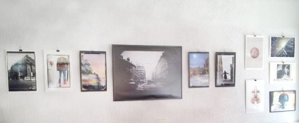View of different huge prints from Kyesos collections displayed on a wall for Dazibao exhibition