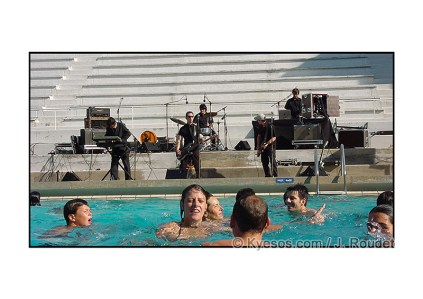 Rockabilly band playing live at the swimming pool
