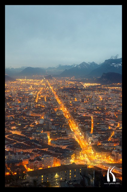 birdview of Grenoble town in France by Kyesos