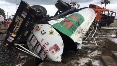 Photo of PHOTOS: Train Crashes Diesel Tanker at Sekondi Railway bypass