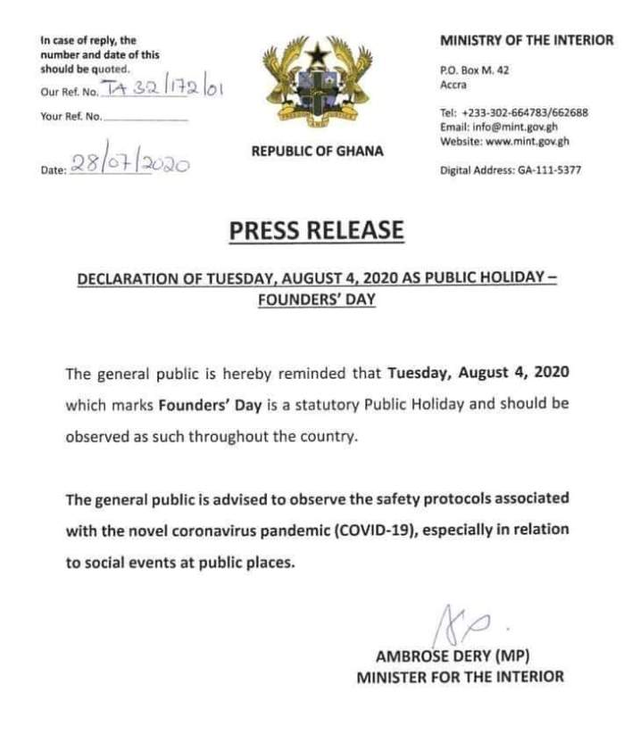 August 4 declared public holiday to mark Founders' Day – kyfilla.com
