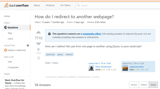 Screenshot | Source: https://stackoverflow.com/questions/503093/how-do-i-redirect-to-another-webpage