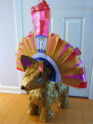 Dressed Up an Aztec Chihuahua Pinata with Golden Headdress