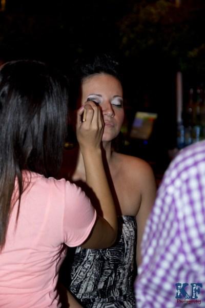 Model getting makeup done Tampa, Florida