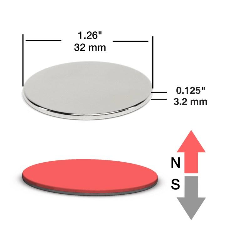 """1.26""""D x 1/8""""H disc magnet"""