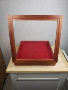 Mahogany Shadow Box, full view, fully open, rear