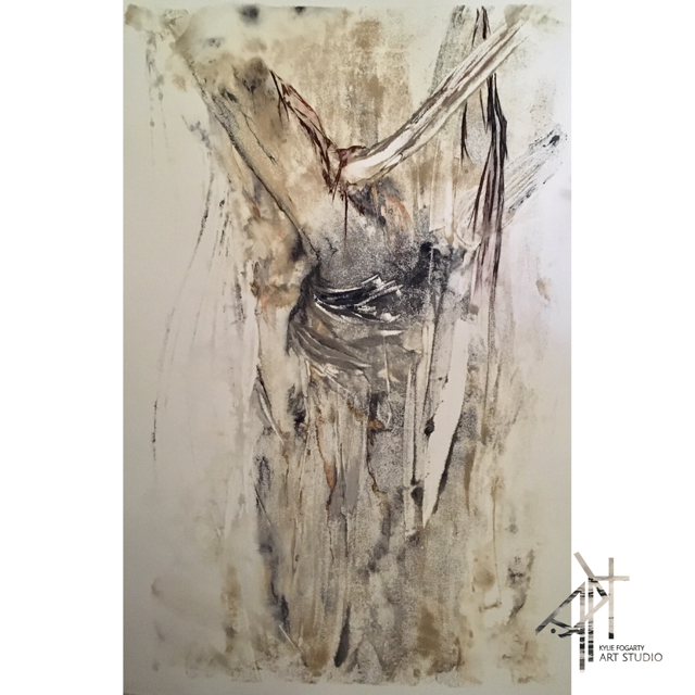 Stringybark Study No 2, Kylie Fogarty Art, Work on Paper, Quest Canberra City Walk Apartments