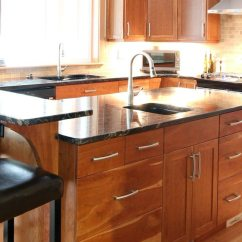 Cherry Kitchen Cabinets Glazed Natural Fir Flooring, Cabinets, Black Granite On ...