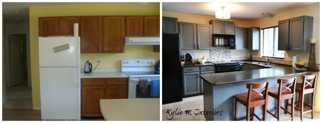 And After Painted Oak Kitchen Cabinets