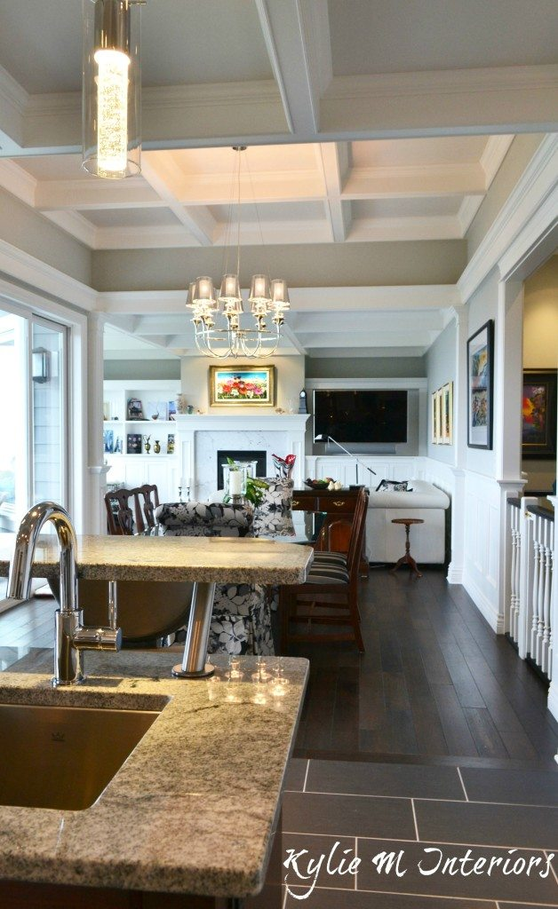 Coffered ceiling in Intense White with dark wood flooring
