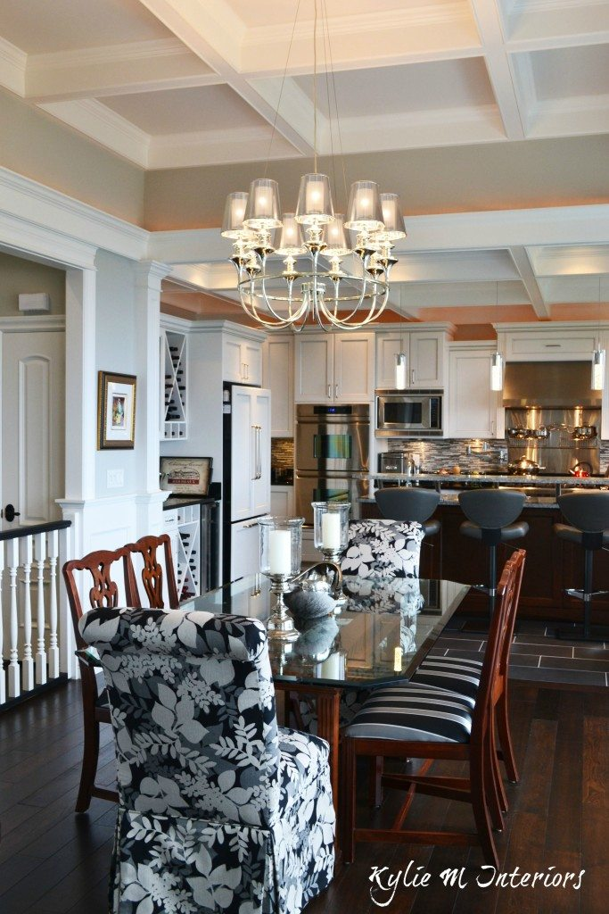 Open Concept Dining Room And Kitchen With Coffered