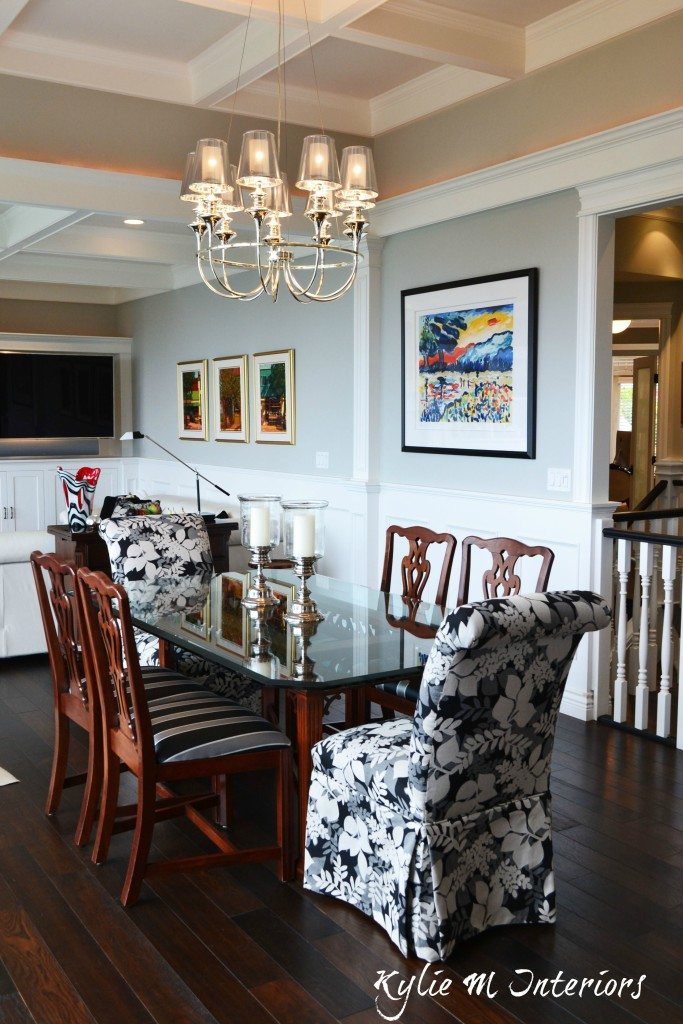 Open concept dining room and living room with coffered ceilings and Benjamin Moore Stonington