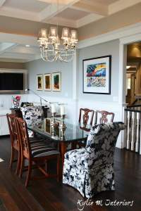 Open concept dining room and living room with coffered ...
