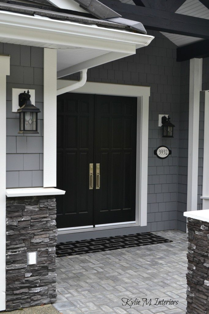 Exterior Of Home With Chelsea Gray Painted Shakes Black