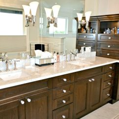 Kitchen Tile Designs Black Island Cart Double Vanity With Marble Countertop, Dark Wood, Crystal ...
